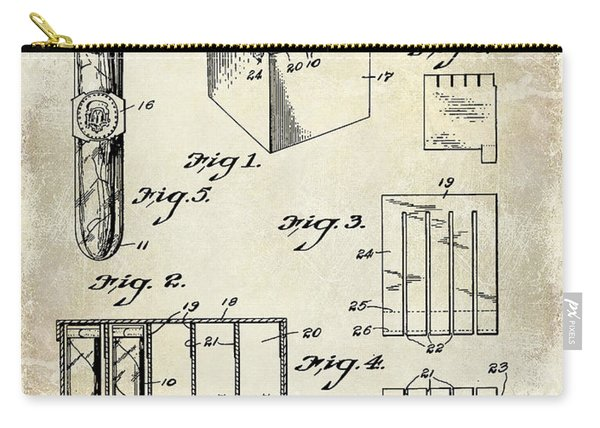 1921 Cigar Package Patent Drawing  Carry-all Pouch