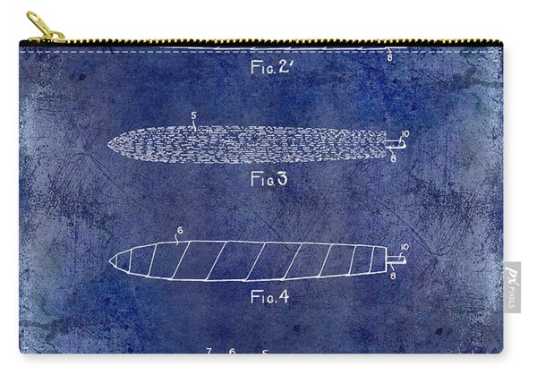 1922 Cigar Patent Drawing Blue Carry-all Pouch