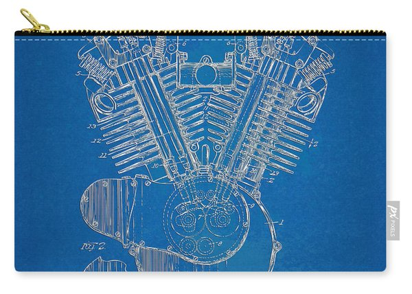 1923 Harley Davidson Engine Patent Artwork - Blueprint Carry-all Pouch