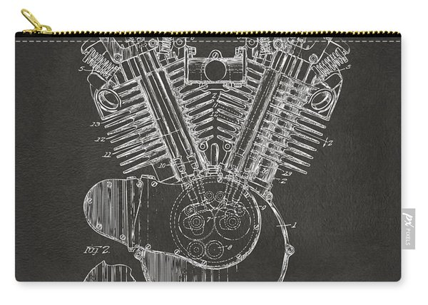 1923 Harley Engine Patent Art - Gray Carry-all Pouch