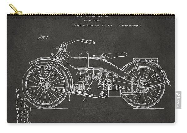 1924 Harley Motorcycle Patent Artwork - Gray Carry-all Pouch
