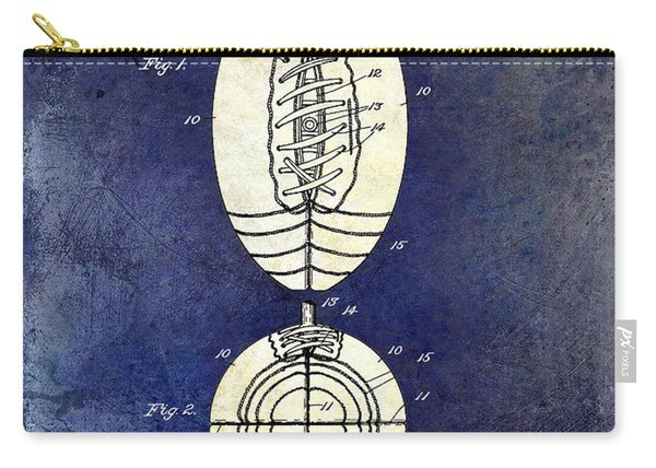 1925 Football Patent Drawing 2 Tone Blue Carry-all Pouch