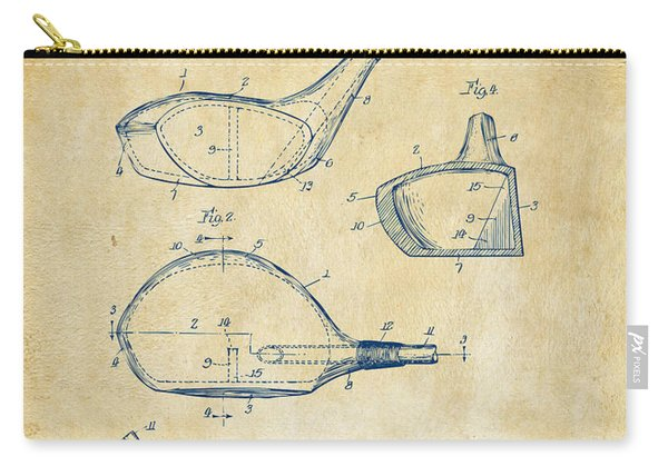 1926 Golf Club Patent Artwork - Vintage Carry-all Pouch