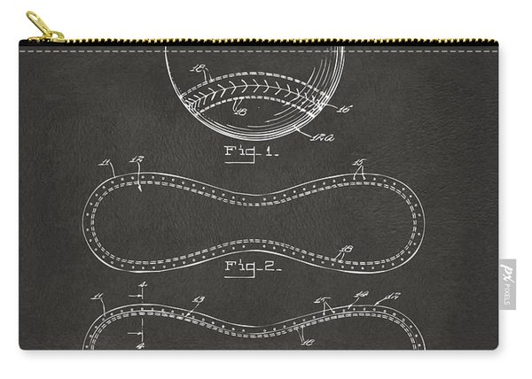 1928 Baseball Patent Artwork - Gray Carry-all Pouch