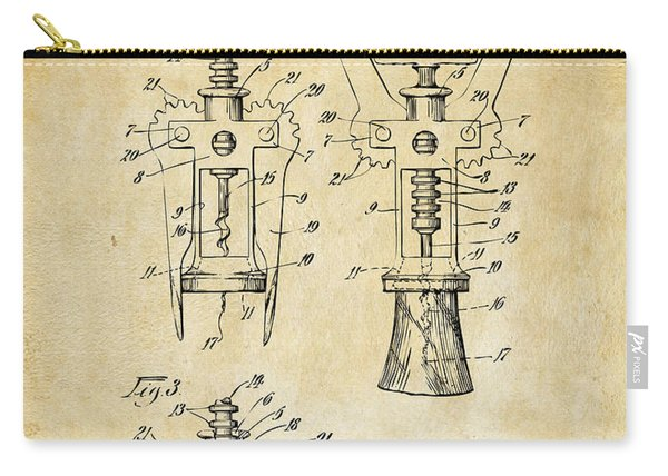 1928 Cork Extractor Patent Art - Vintage Black Carry-all Pouch