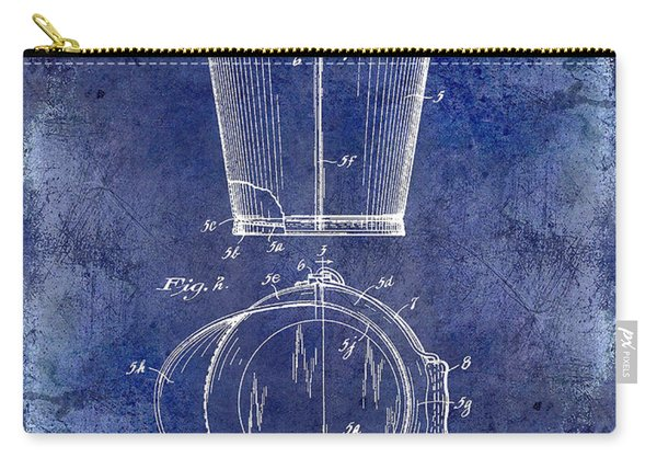 1928 Milk Pail Patent Drawing Blue Carry-all Pouch