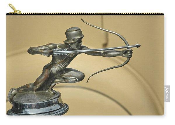 1928 Pierce Arrow Helmeted Archer Hood Ornament Carry-all Pouch