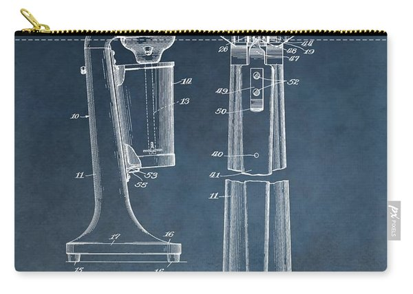 1930 Drink Mixer Patent Blue Carry-all Pouch