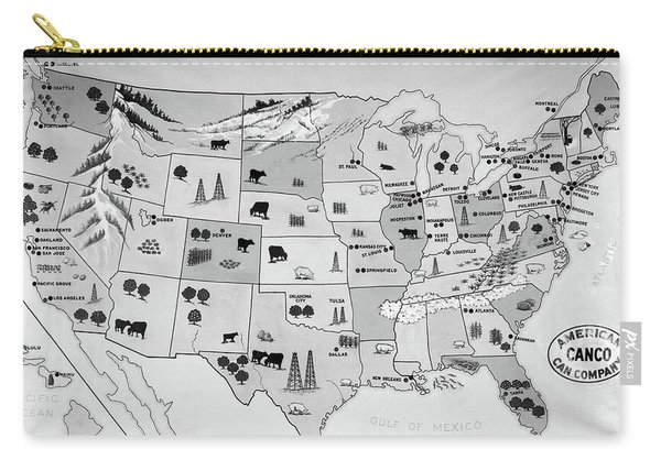 1930s 1940s Map Of United States Carry-all Pouch