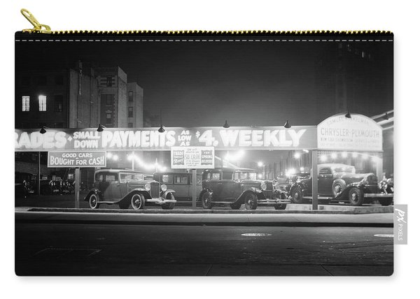 1930s New And Used Car Lot At Night Carry-all Pouch