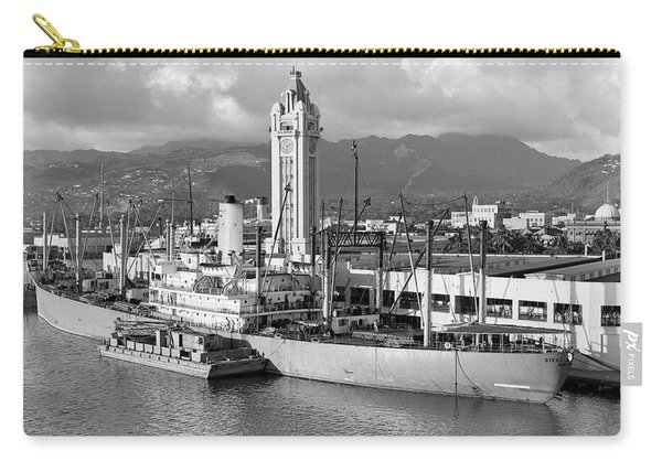 1930s Ship Freighter At Dock By Aloha Carry-all Pouch