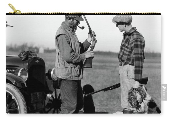 1930s Two Men Hunters By Car Looking Carry-all Pouch