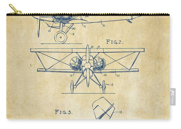 1931 Aircraft Emergency Floatation Patent Vintage Carry-all Pouch