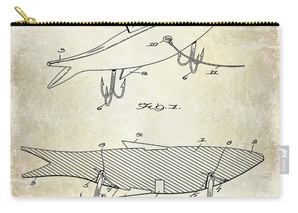1931 Fish Bait Patent Drawing Carry-all Pouch