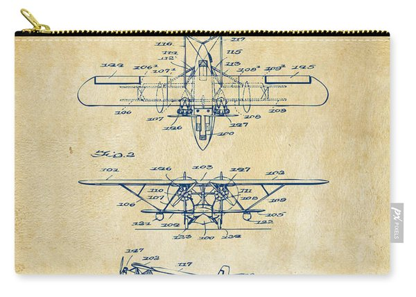 1932 Amphibian Aircraft Patent Vintage Carry-all Pouch
