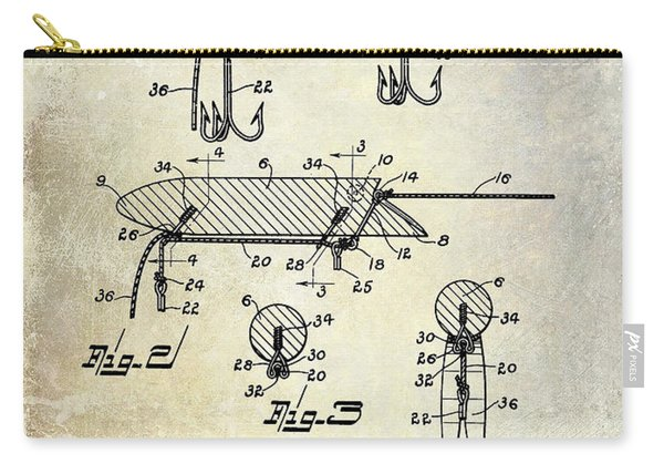 1935 Fishing Lure Patent Carry-all Pouch