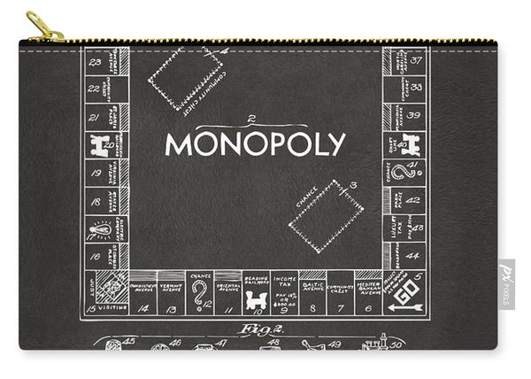 1935 Monopoly Game Board Patent Artwork - Gray Carry-all Pouch