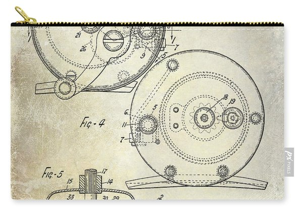 1936 Fishing Reel Patent Drawing Carry-all Pouch