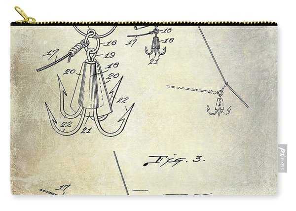 1940 Fishing Gaff Patent Drawing Carry-all Pouch
