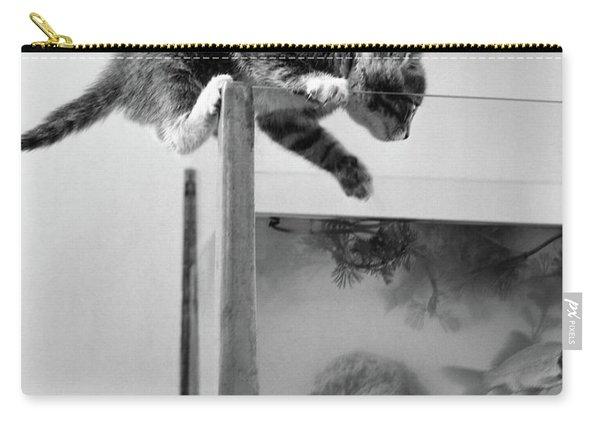 1940s Tabby Cat Kitten Climbing Carry-all Pouch