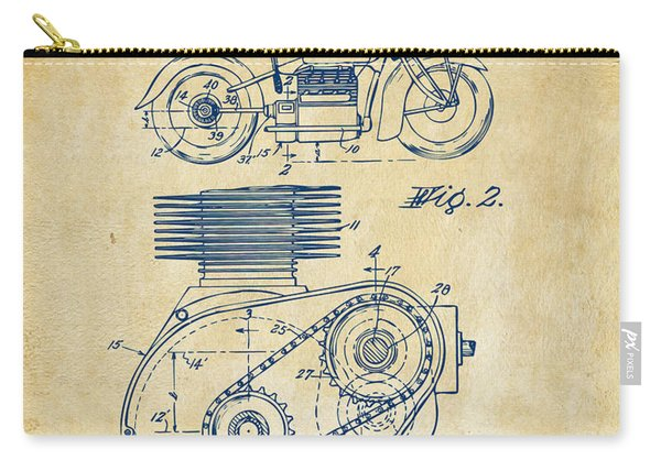 1941 Indian Motorcycle Patent Artwork - Vintage Carry-all Pouch