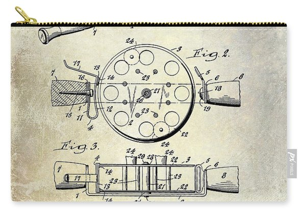 1943 Fishing Reel Patent Drawing Carry-all Pouch