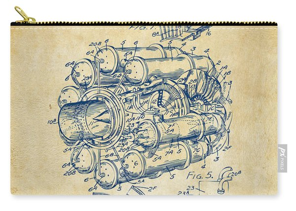 1946 Jet Aircraft Propulsion Patent Artwork - Vintage Carry-all Pouch