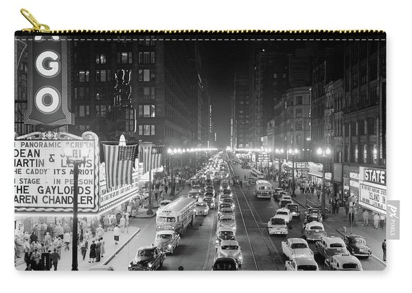 1950s 1953 Night Scene Of Chicago State Carry-all Pouch