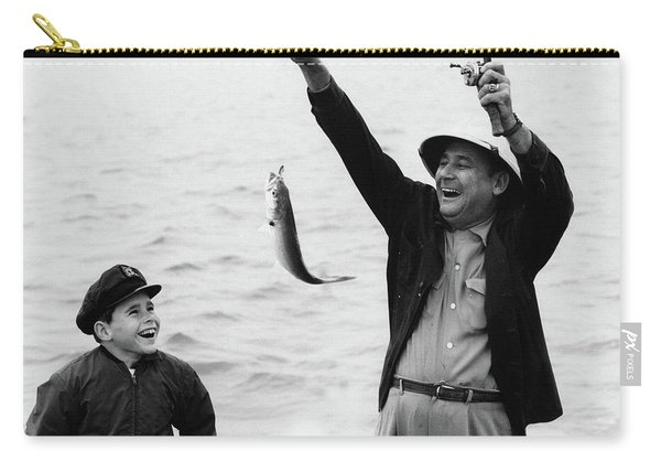 1950s 1960s Boy Son Fishing With Man Carry-all Pouch