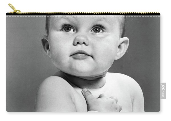 1950s Baby Looking Up Holding Right Carry-all Pouch