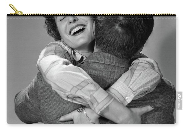 1950s Couple Man And Happy Woman Carry-all Pouch