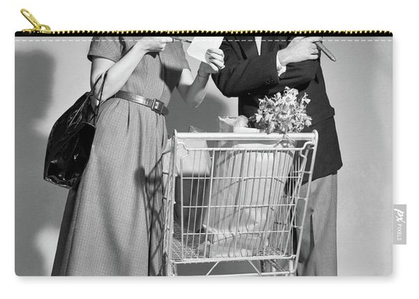 1950s Couple Man Woman Shopping Cart Carry-all Pouch