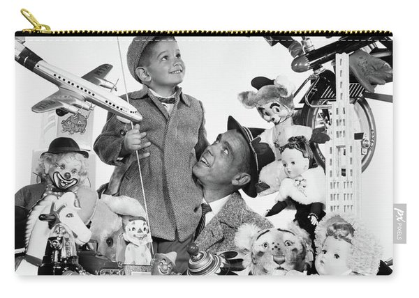 1950s Father With Son Holding Balloon Carry-all Pouch