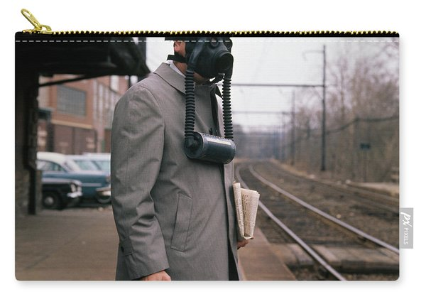 1950s Man Wearing Gas Mask Hat Carry-all Pouch