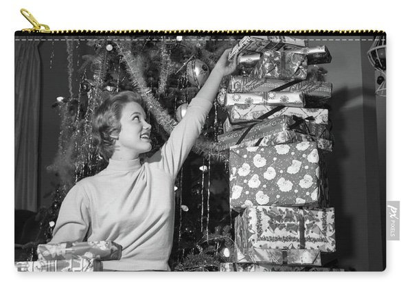1950s Smiling Young Woman Sitting Carry-all Pouch