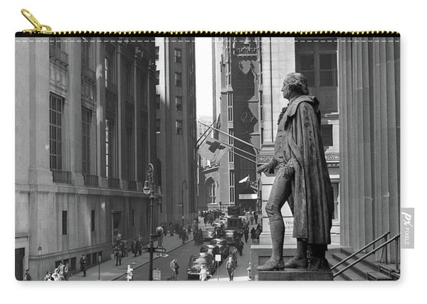 1950s Wall Street From Steps Of Federal Carry-all Pouch