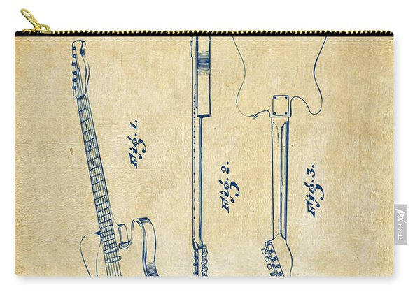 1951 Fender Electric Guitar Patent Artwork - Vintage Carry-all Pouch