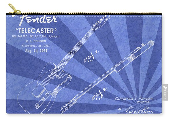 1951 Fender Telecaster Guitar Patent Art Blue Ray Pattern 1 Carry-all Pouch
