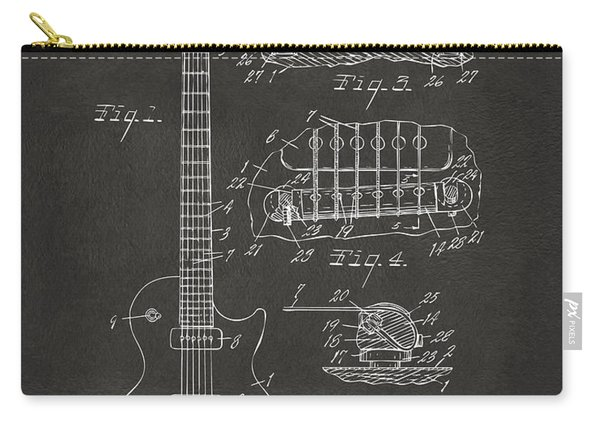 1955 Mccarty Gibson Les Paul Guitar Patent Artwork - Gray Carry-all Pouch