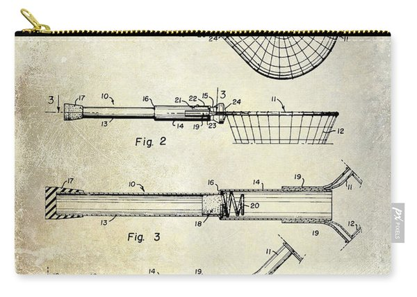 1957 Landing Net Patent Drawing Carry-all Pouch