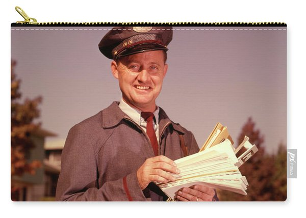 1960 1960s Smiling Mailman Holding Carry-all Pouch