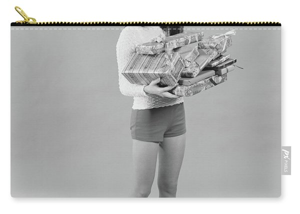 1960s 1970s Young Woman Wearing Santa Carry-all Pouch