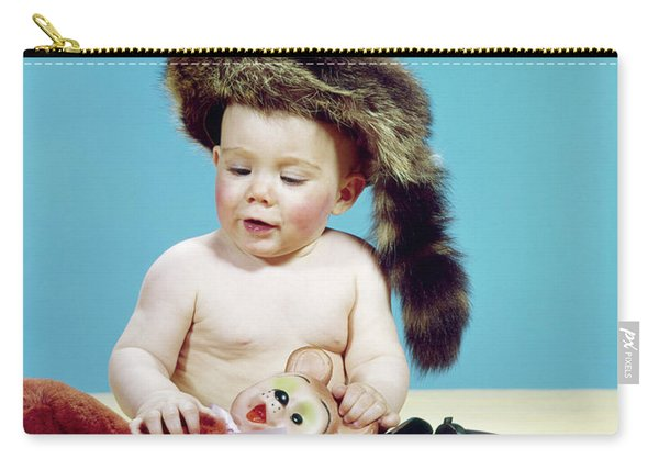 1960s Baby Boy Wearing Coonskin Cap Carry-all Pouch
