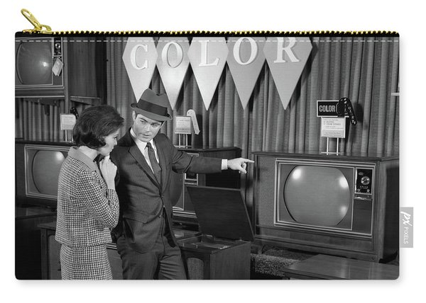 1960s Couple Shopping For Color Tvs Carry-all Pouch