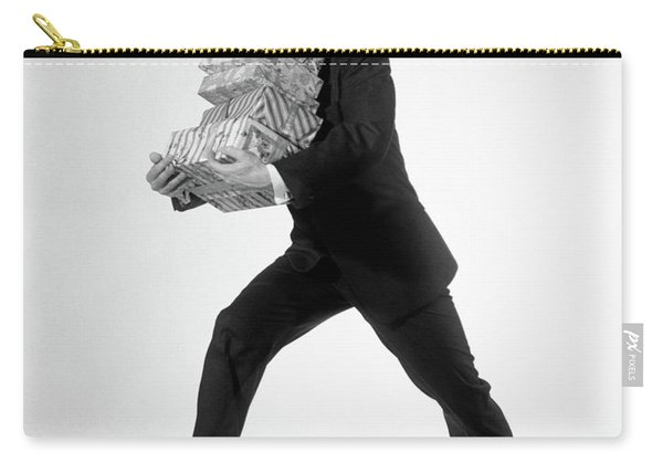 1960s Excited Enthusiastic Man Jumping Carry-all Pouch