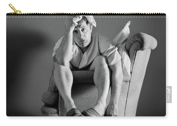 1960s Exhausted Sleepless Man Sitting Carry-all Pouch