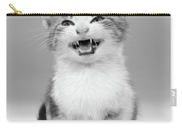 1960s Meowing Kitten Tabby Spots Mouth Carry-all Pouch