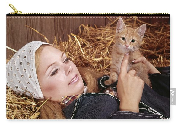 1960s Portrait Young Blond Woman Lying Carry-all Pouch