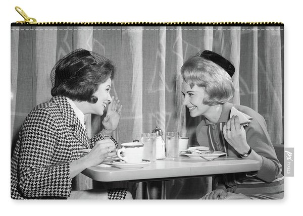 1960s Two Women Gossiping At Lunch Carry-all Pouch