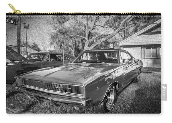 1968 Dodge Charger The Bullit Car Bw Carry-all Pouch